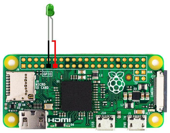 Raspberry Pi Zero conectado a un led